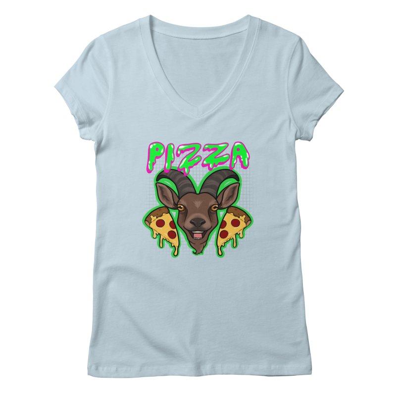 Pizza goat Women's Regular V-Neck by Animegravy's Artist Shop