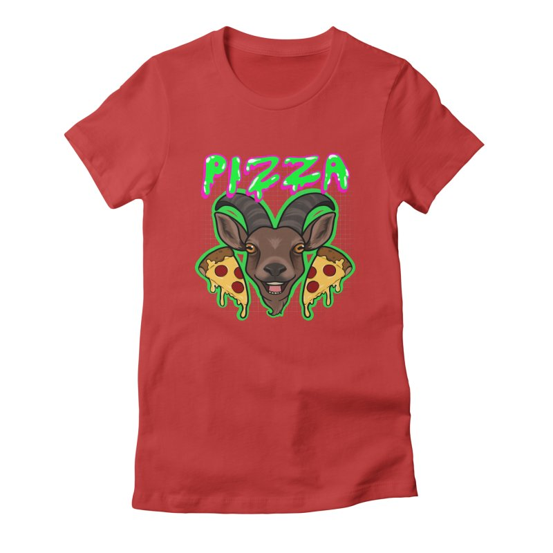 Pizza goat Women's Fitted T-Shirt by Animegravy's Artist Shop