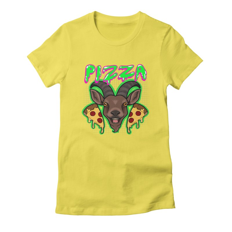 Pizza goat Women's Fitted T-Shirt by AnimeGravy