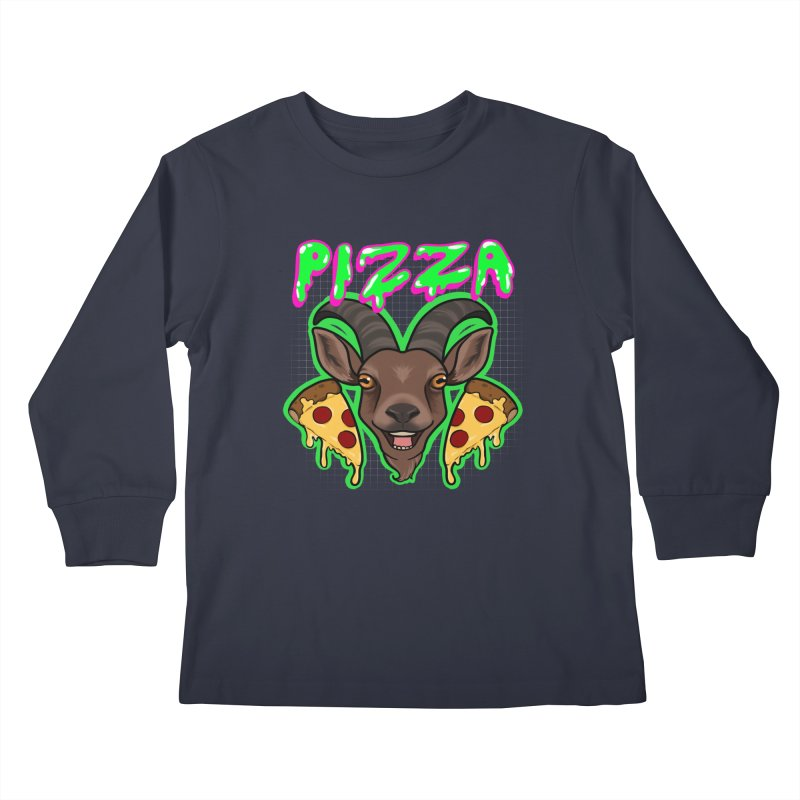 Pizza goat Kids Longsleeve T-Shirt by AnimeGravy