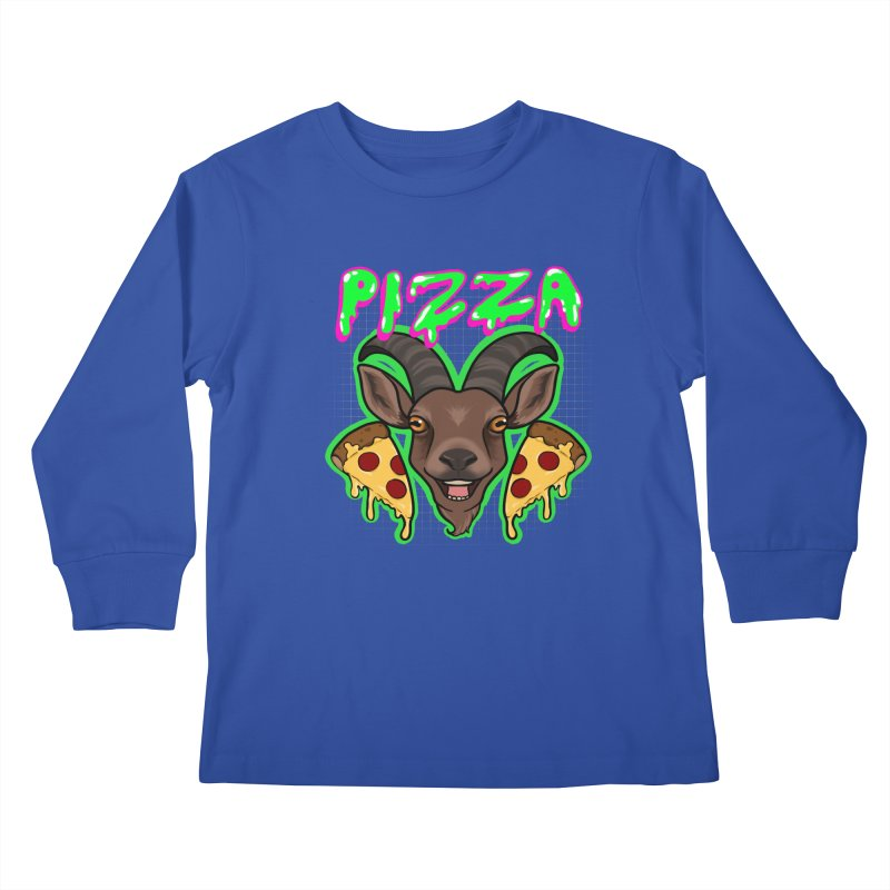 Pizza goat Kids Longsleeve T-Shirt by Animegravy's Artist Shop