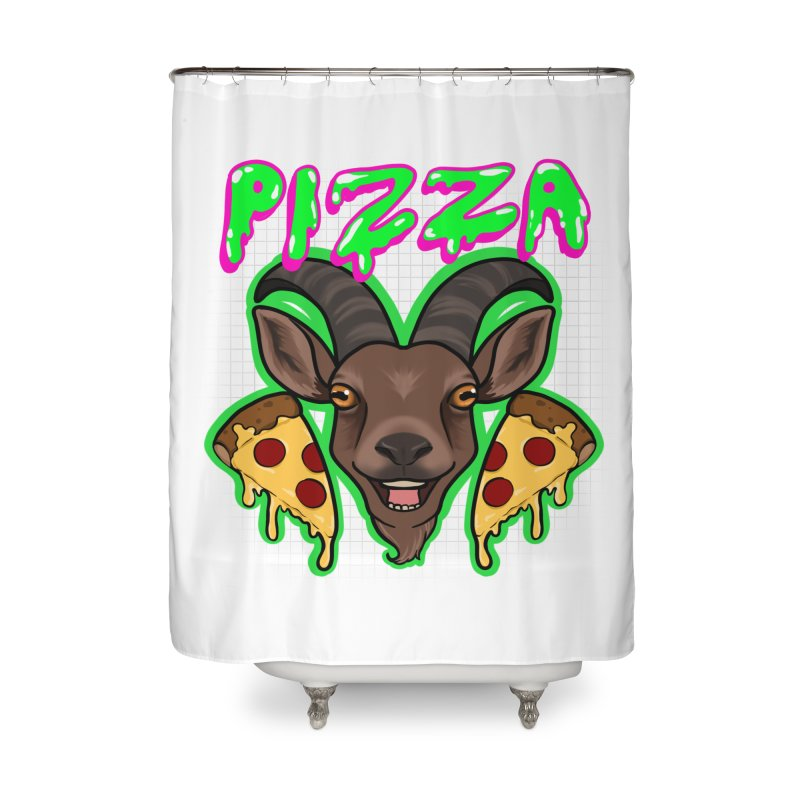 Pizza goat Home Shower Curtain by AnimeGravy