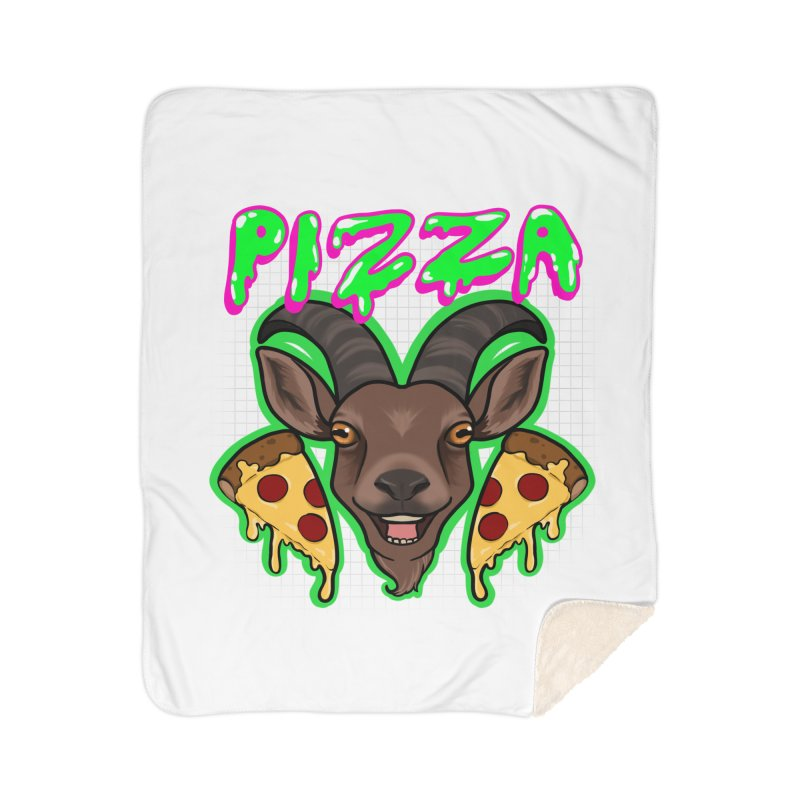 Pizza goat Home Sherpa Blanket Blanket by AnimeGravy