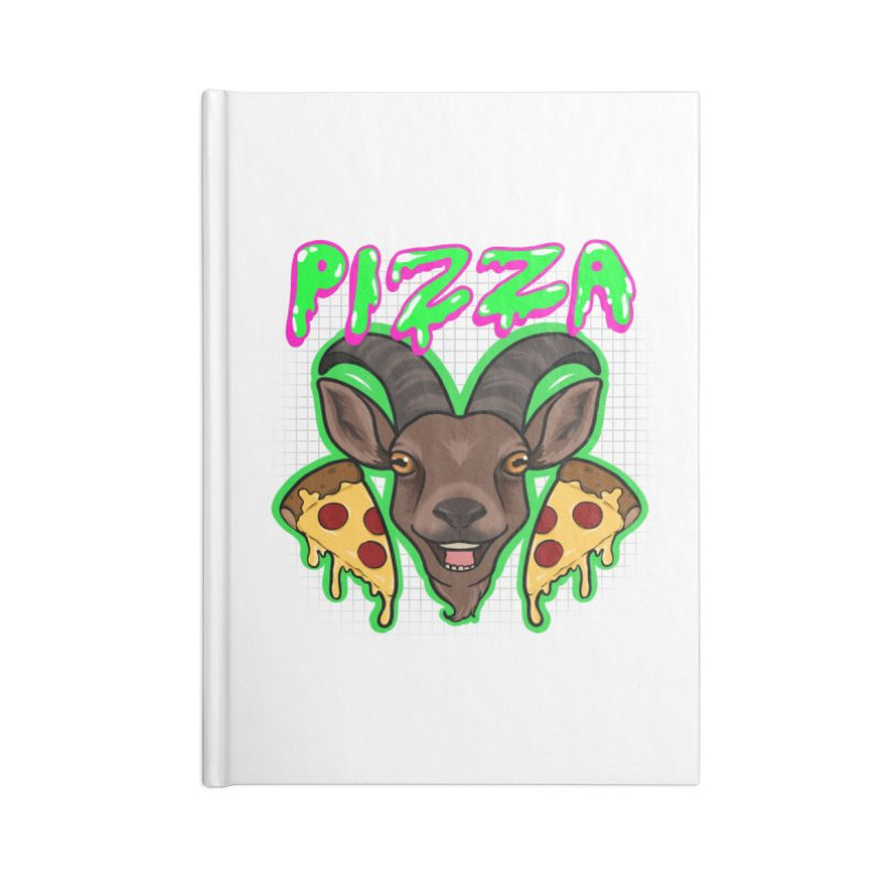 Pizza goat Accessories Lined Journal Notebook by AnimeGravy