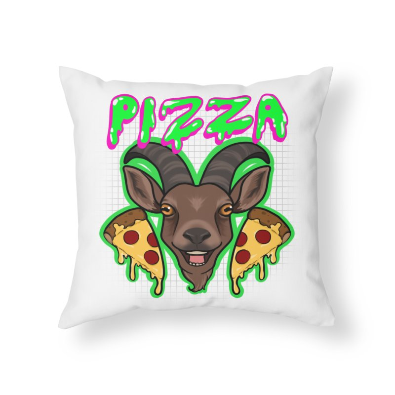 Pizza goat Home Throw Pillow by AnimeGravy