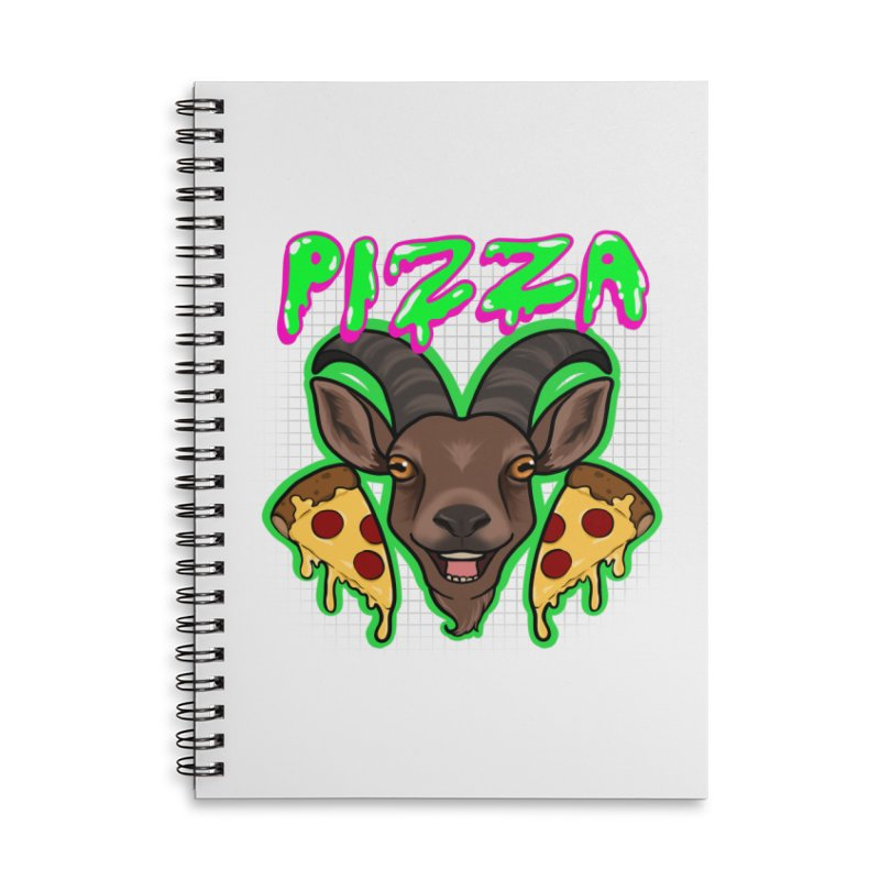 Pizza goat Accessories Lined Spiral Notebook by AnimeGravy