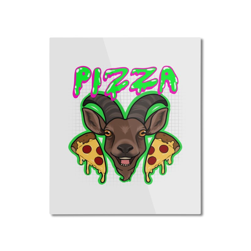 Pizza goat Home Mounted Aluminum Print by AnimeGravy