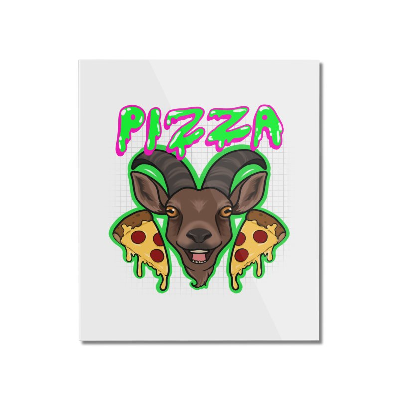 Pizza goat Home Mounted Acrylic Print by AnimeGravy