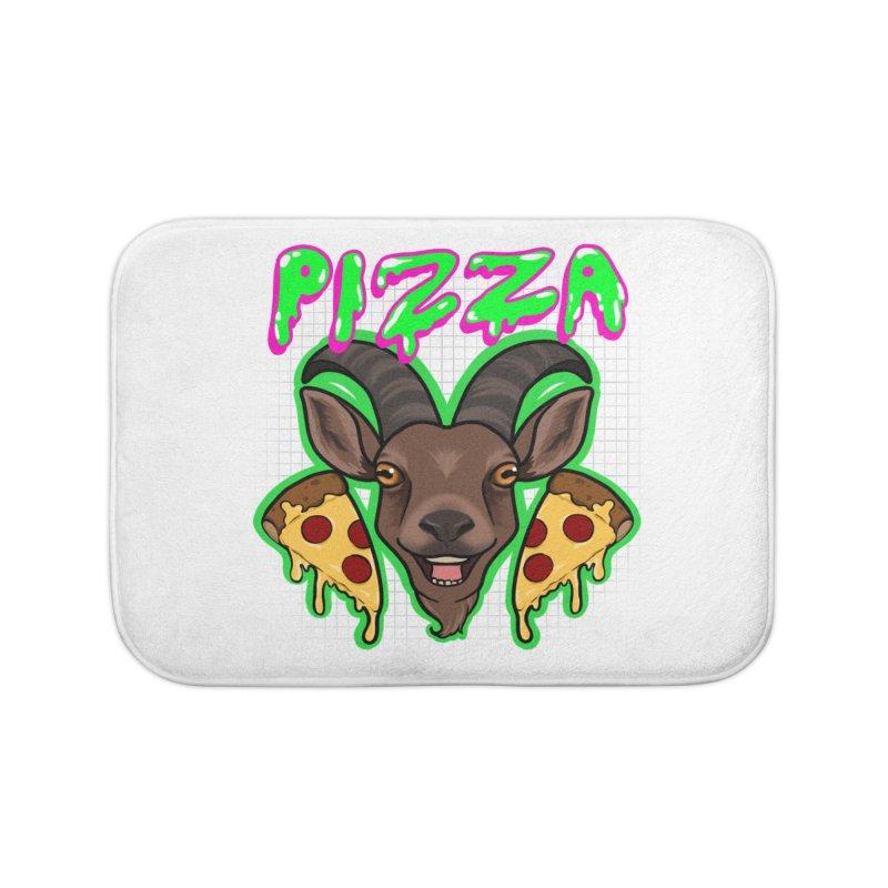 Pizza goat Home Bath Mat by AnimeGravy
