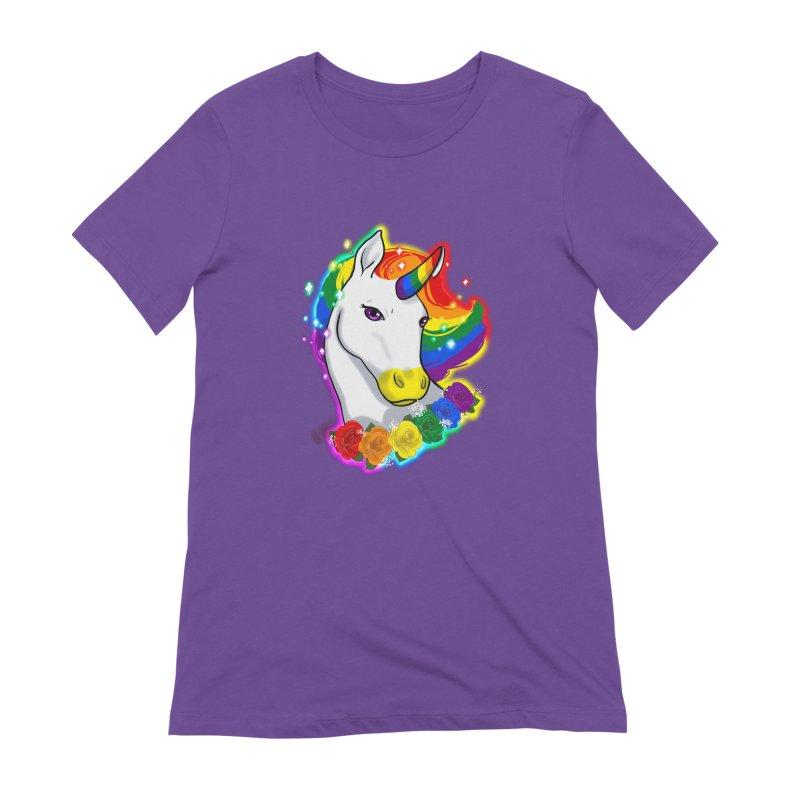 Rainbow gay pride unicorn Women's Extra Soft T-Shirt by Animegravy's Artist Shop
