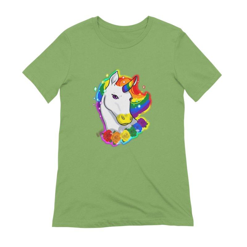 Rainbow gay pride unicorn Women's Extra Soft T-Shirt by AnimeGravy