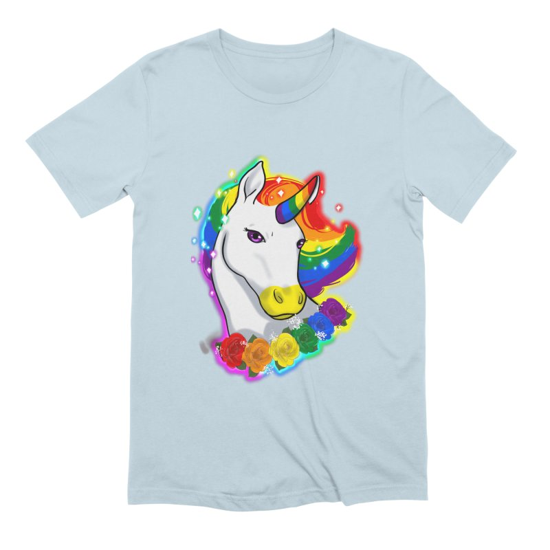 Rainbow gay pride unicorn Men's Extra Soft T-Shirt by Animegravy's Artist Shop