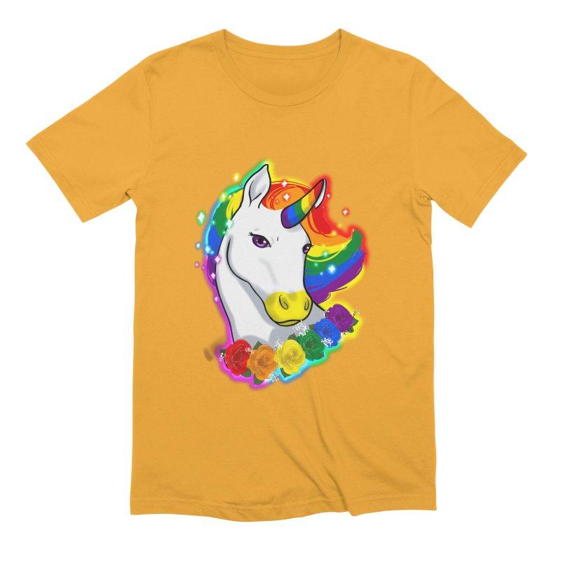 Rainbow gay pride unicorn Men's Extra Soft T-Shirt by AnimeGravy