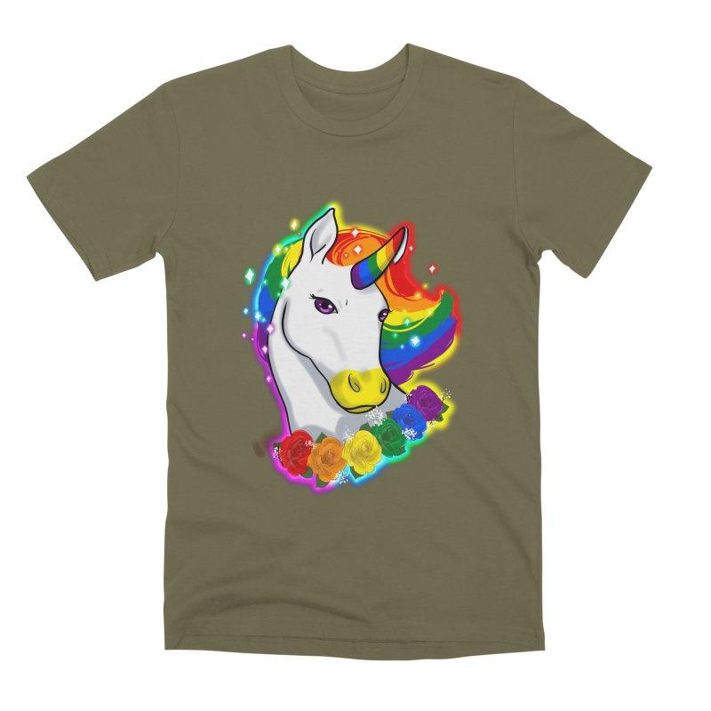 Rainbow gay pride unicorn Men's Premium T-Shirt by AnimeGravy