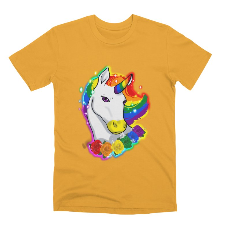 Rainbow gay pride unicorn Men's Premium T-Shirt by Animegravy's Artist Shop
