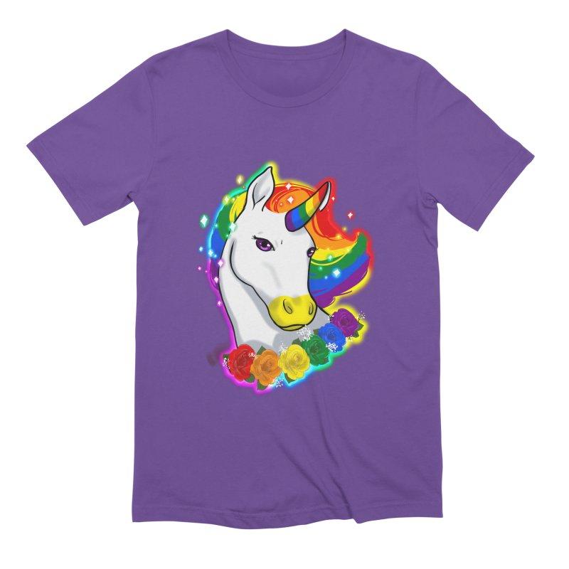 Rainbow gay pride unicorn Men's Extra Soft T-Shirt by Animegravy's Artist Shop