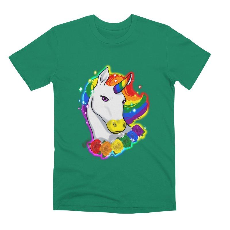 Rainbow gay pride unicorn Men's Premium T-Shirt by Animegravy's Artist Shop