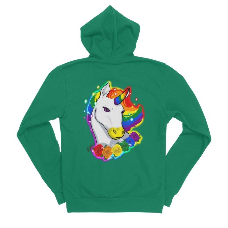 Rainbow gay pride unicorn Men's Sponge Fleece Zip-Up Hoody by AnimeGravy