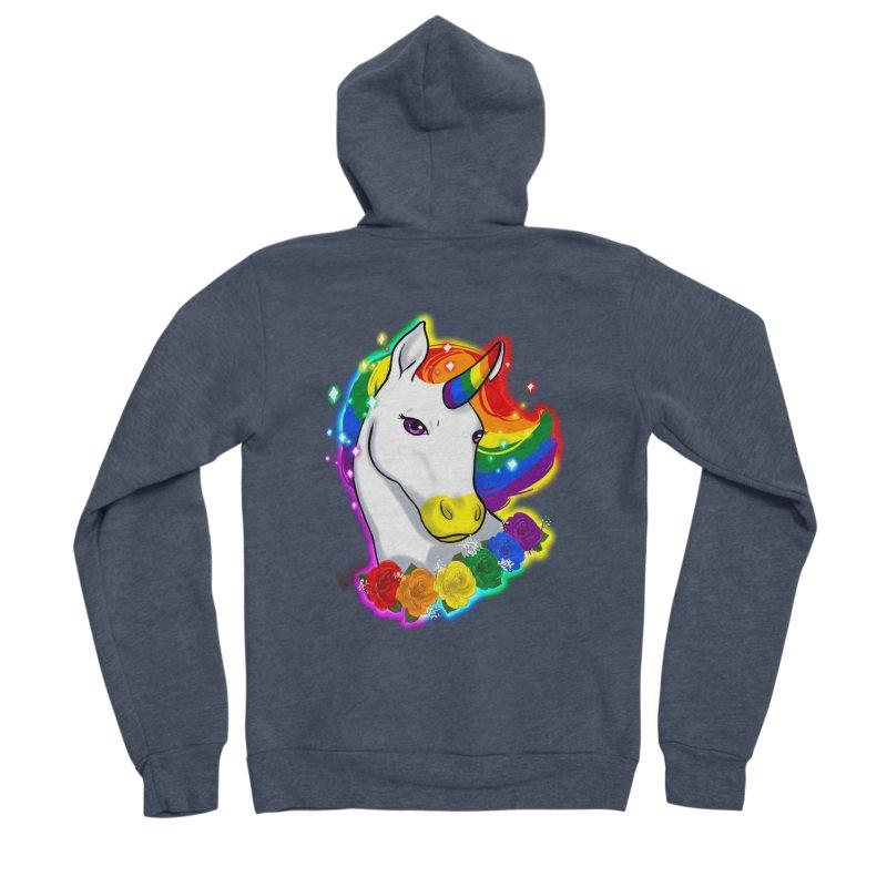 Rainbow gay pride unicorn Women's Sponge Fleece Zip-Up Hoody by AnimeGravy