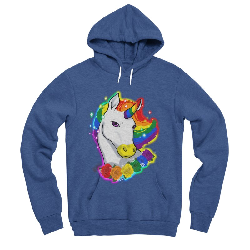 Rainbow gay pride unicorn Men's Sponge Fleece Pullover Hoody by AnimeGravy