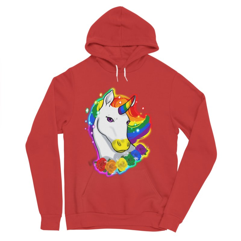 Rainbow gay pride unicorn Women's Sponge Fleece Pullover Hoody by Animegravy's Artist Shop