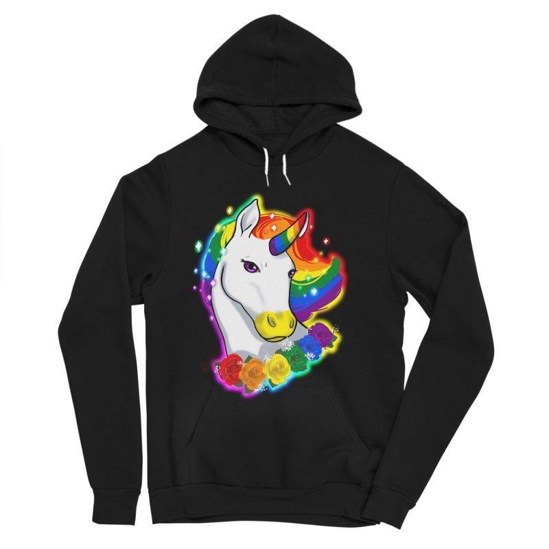 Rainbow gay pride unicorn Men's Sponge Fleece Pullover Hoody by Animegravy's Artist Shop