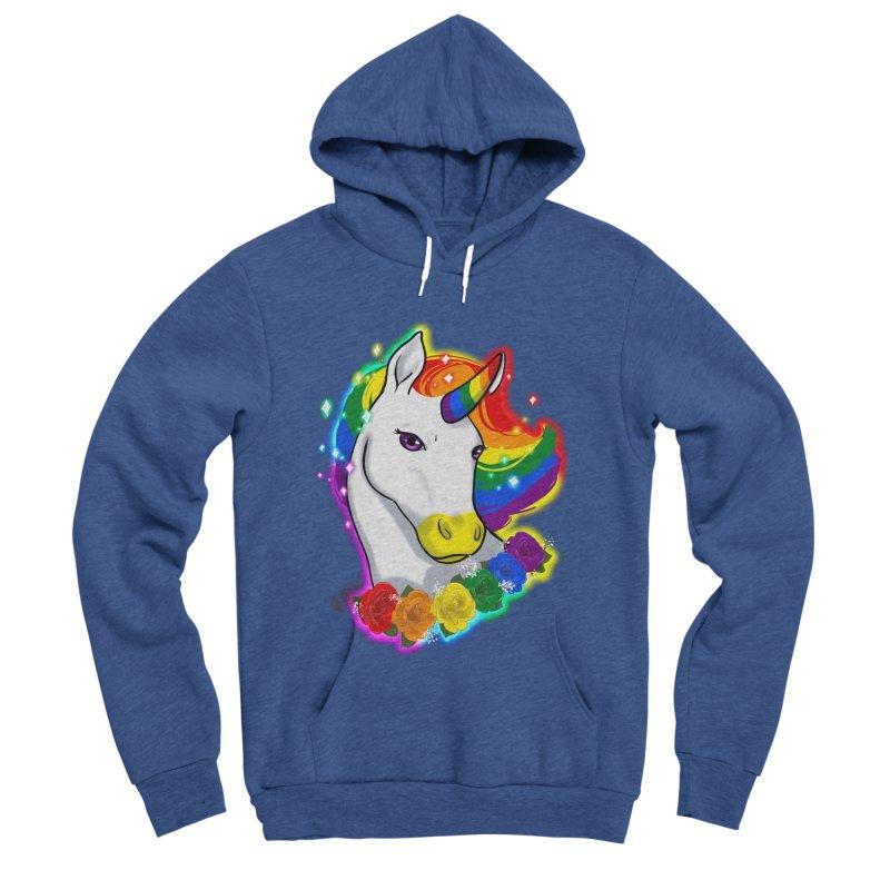 Rainbow gay pride unicorn Women's Sponge Fleece Pullover Hoody by AnimeGravy