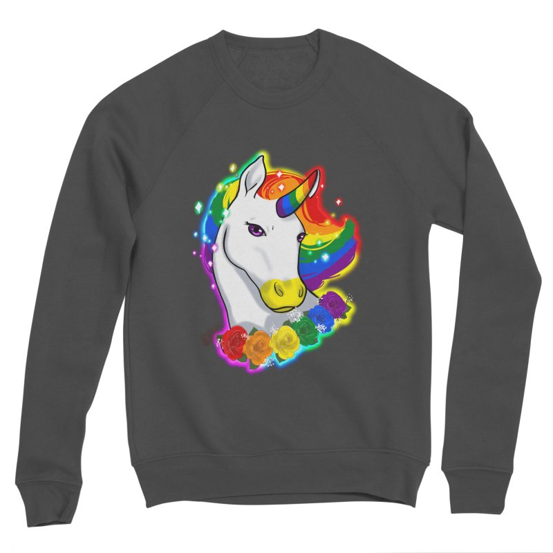 Rainbow gay pride unicorn Men's Sponge Fleece Sweatshirt by AnimeGravy