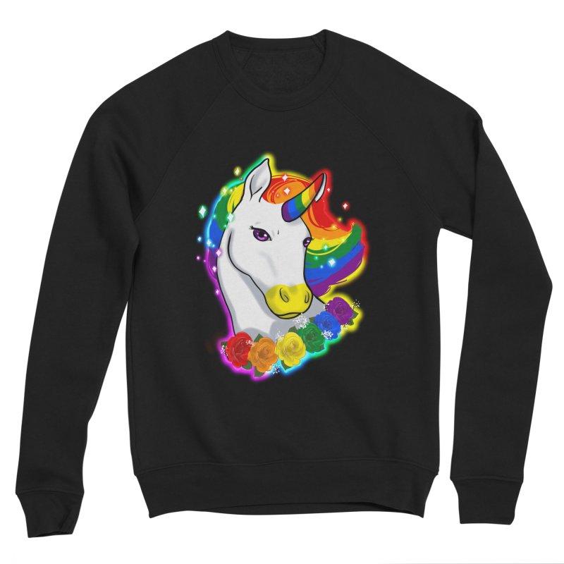 Rainbow gay pride unicorn Men's Sponge Fleece Sweatshirt by AnimeGravy