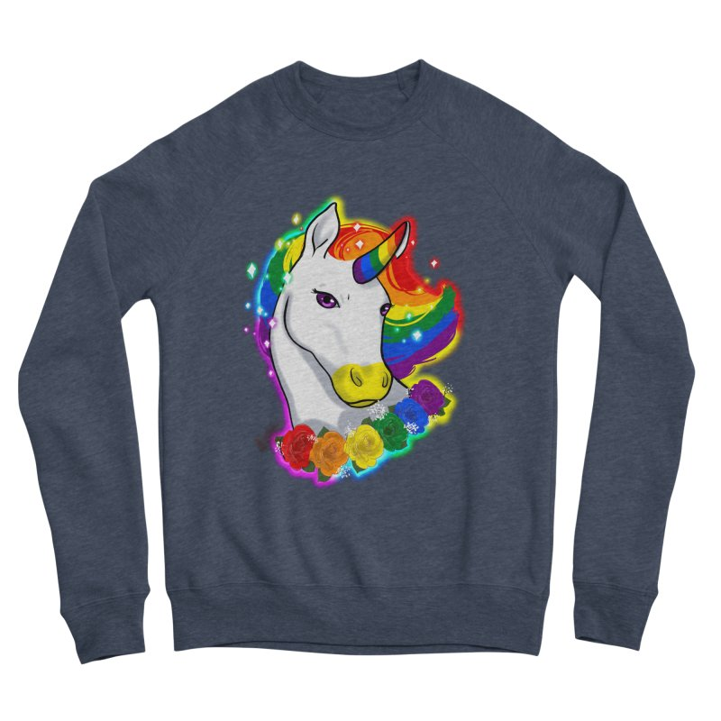 Rainbow gay pride unicorn Women's Sponge Fleece Sweatshirt by AnimeGravy