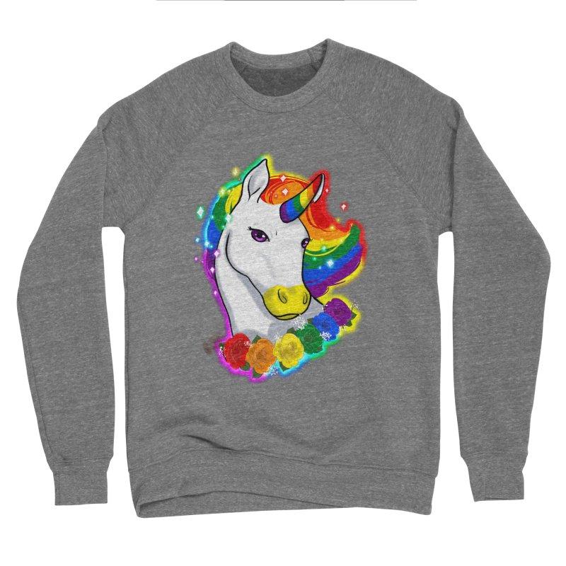 Rainbow gay pride unicorn Women's Sponge Fleece Sweatshirt by Animegravy's Artist Shop