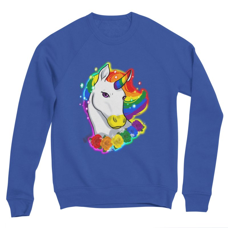 Rainbow gay pride unicorn Men's Sponge Fleece Sweatshirt by Animegravy's Artist Shop