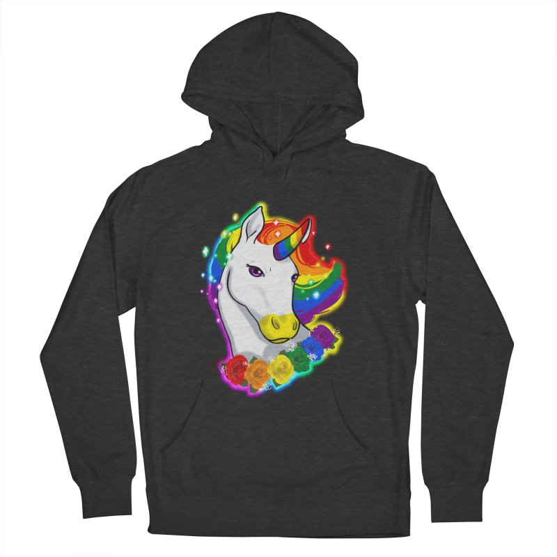 Rainbow gay pride unicorn Women's French Terry Pullover Hoody by Animegravy's Artist Shop