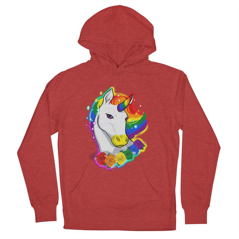 Rainbow gay pride unicorn Women's French Terry Pullover Hoody by AnimeGravy