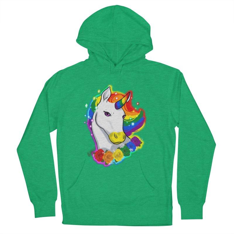 Rainbow gay pride unicorn Men's French Terry Pullover Hoody by AnimeGravy