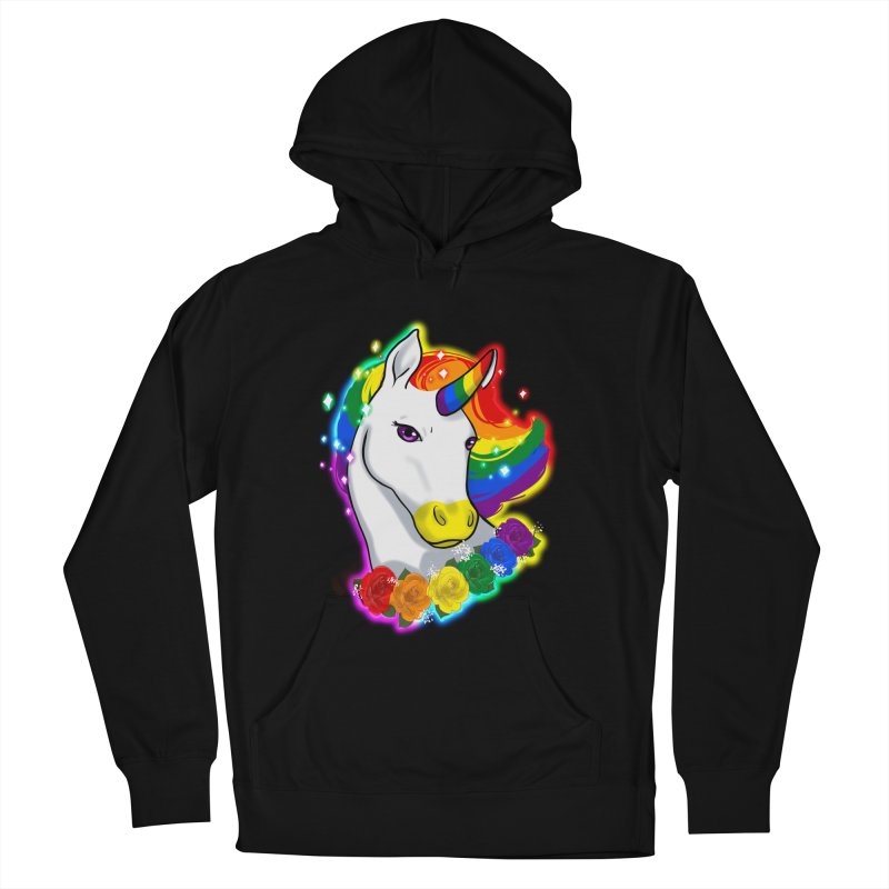 Rainbow gay pride unicorn Men's French Terry Pullover Hoody by Animegravy's Artist Shop