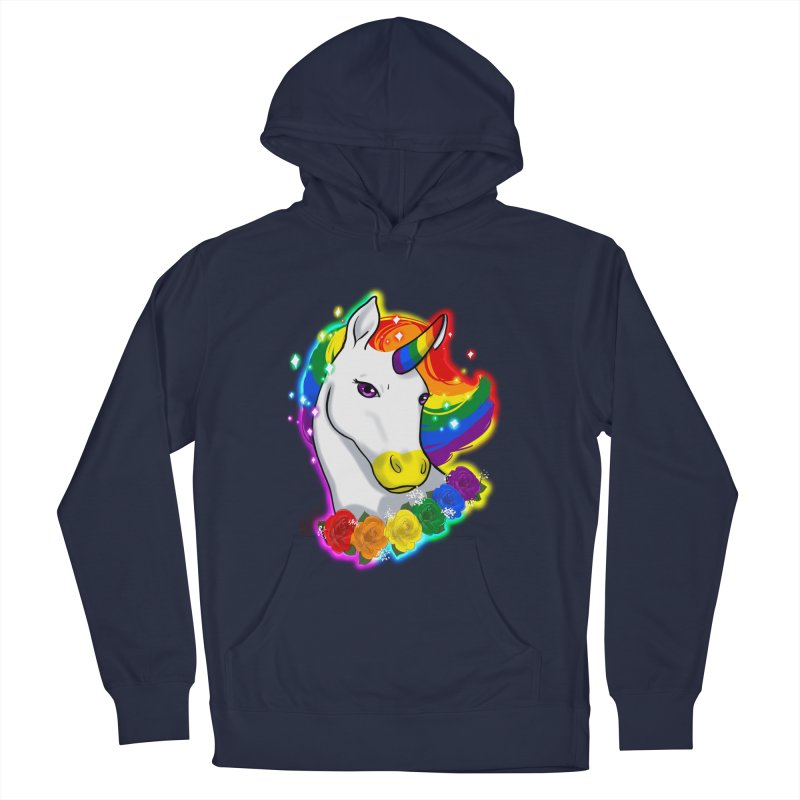 Rainbow gay pride unicorn Men's French Terry Pullover Hoody by AnimeGravy