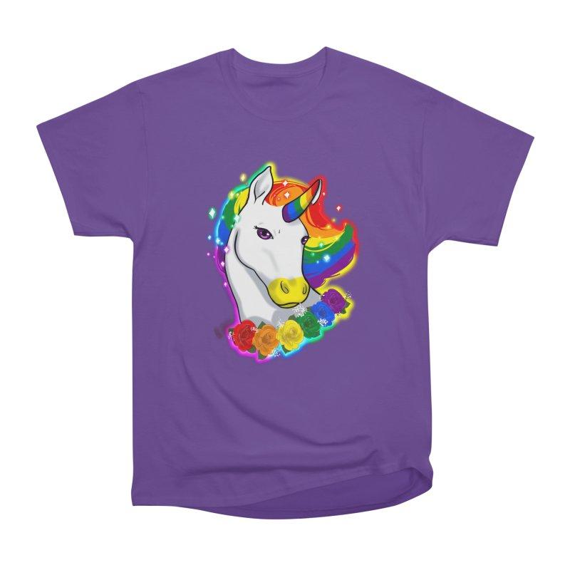 Rainbow gay pride unicorn Women's Heavyweight Unisex T-Shirt by AnimeGravy