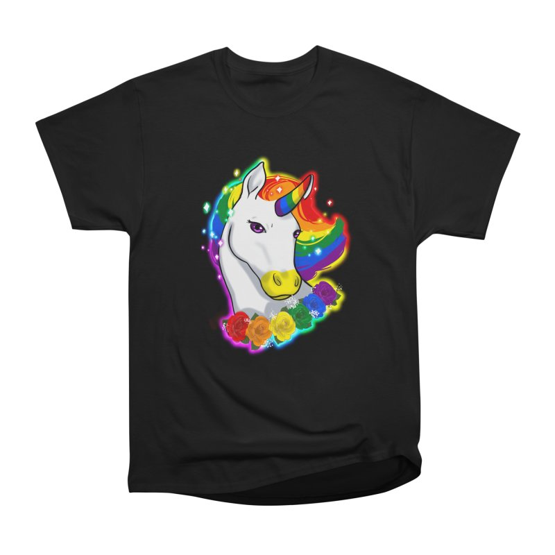 Rainbow gay pride unicorn Men's Heavyweight T-Shirt by Animegravy's Artist Shop
