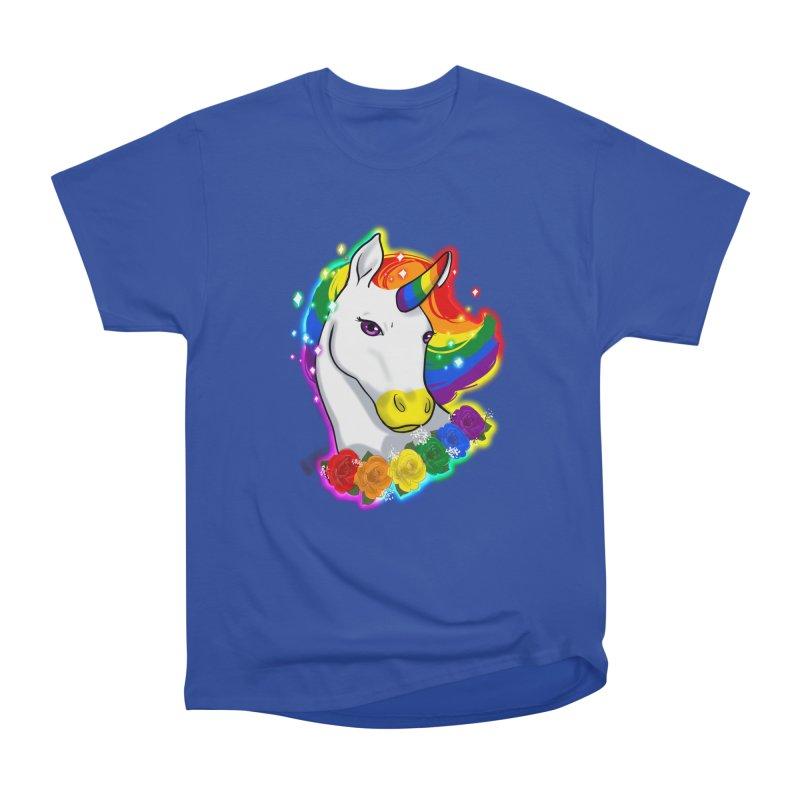 Rainbow gay pride unicorn Men's Heavyweight T-Shirt by AnimeGravy