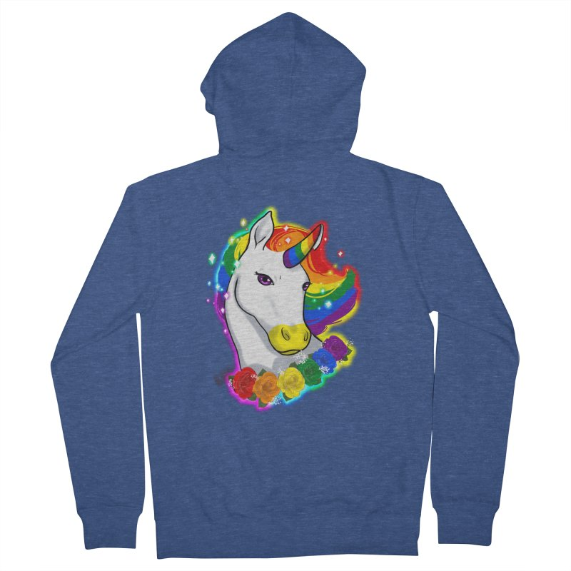 Rainbow gay pride unicorn Women's French Terry Zip-Up Hoody by Animegravy's Artist Shop