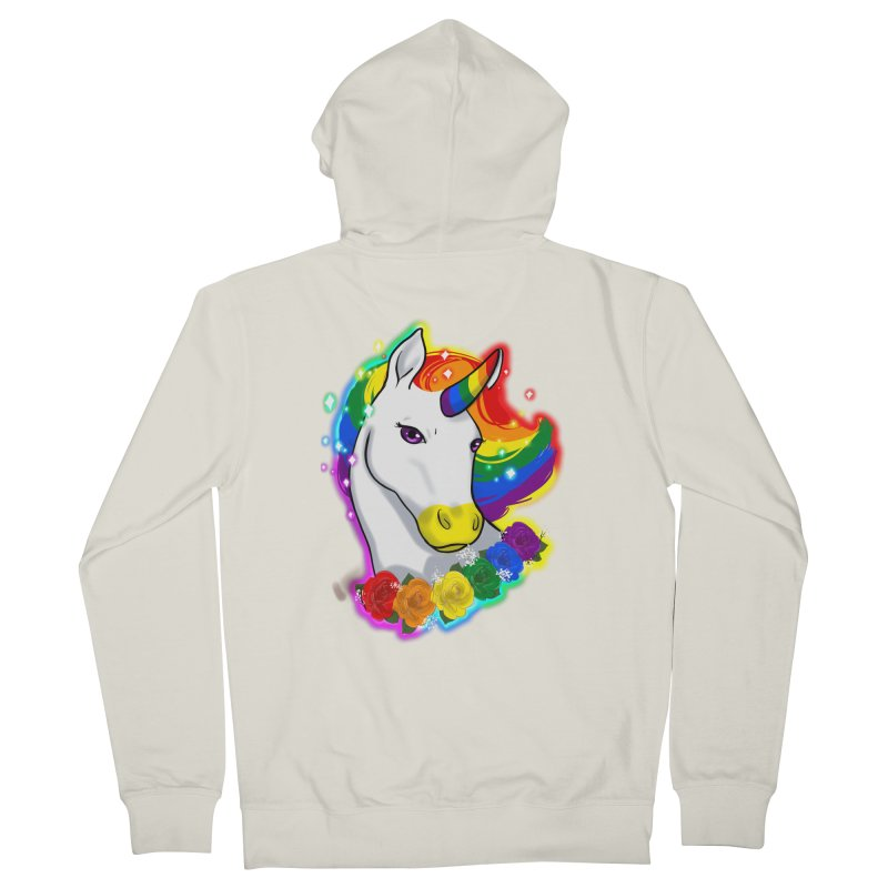 Rainbow gay pride unicorn Women's French Terry Zip-Up Hoody by AnimeGravy