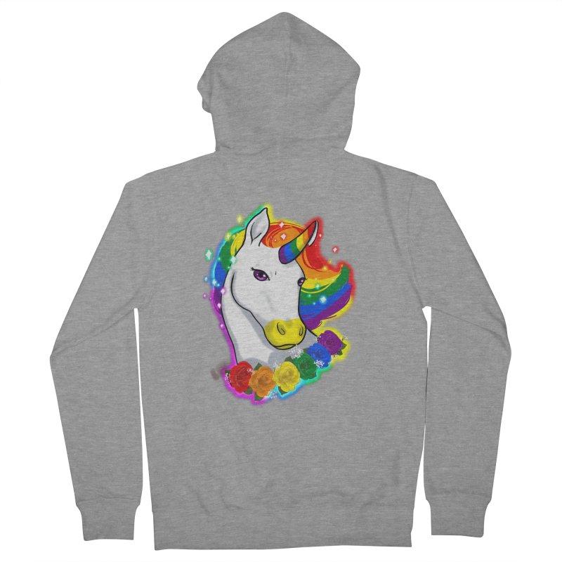 Rainbow gay pride unicorn Men's French Terry Zip-Up Hoody by Animegravy's Artist Shop