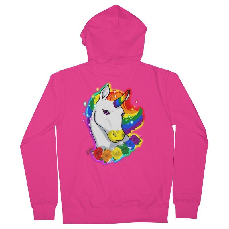 Rainbow gay pride unicorn Men's French Terry Zip-Up Hoody by AnimeGravy
