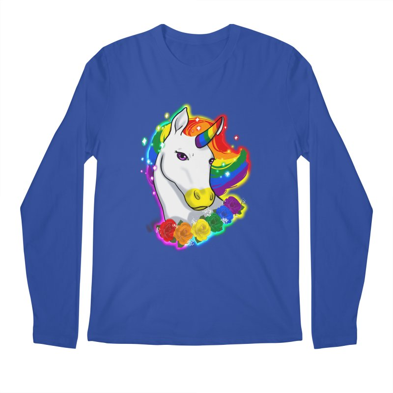 Rainbow gay pride unicorn Men's Regular Longsleeve T-Shirt by AnimeGravy