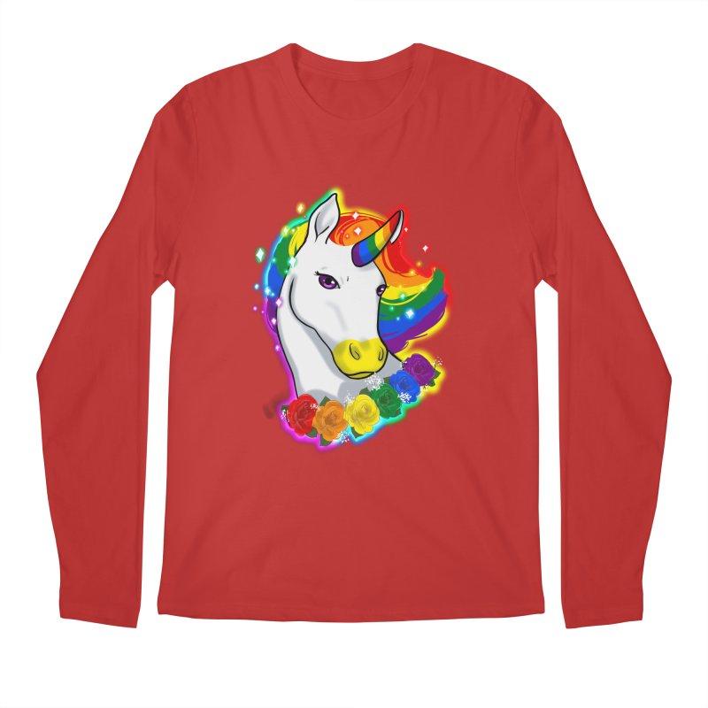 Rainbow gay pride unicorn Men's Regular Longsleeve T-Shirt by Animegravy's Artist Shop