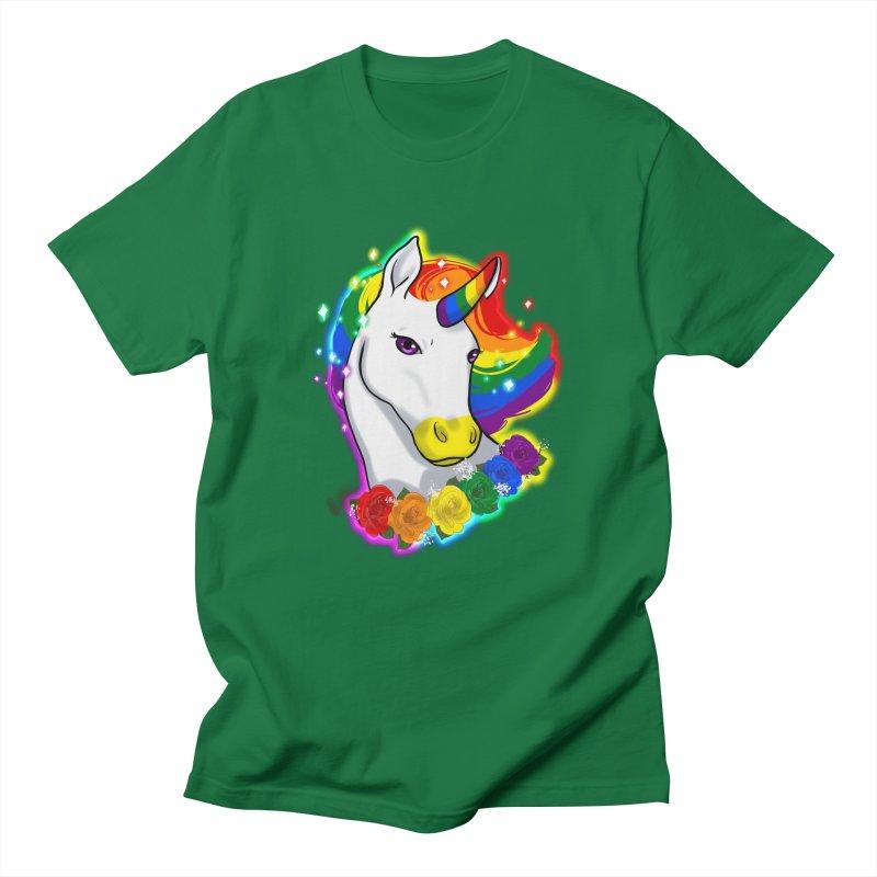 Rainbow gay pride unicorn Women's Regular Unisex T-Shirt by Animegravy's Artist Shop