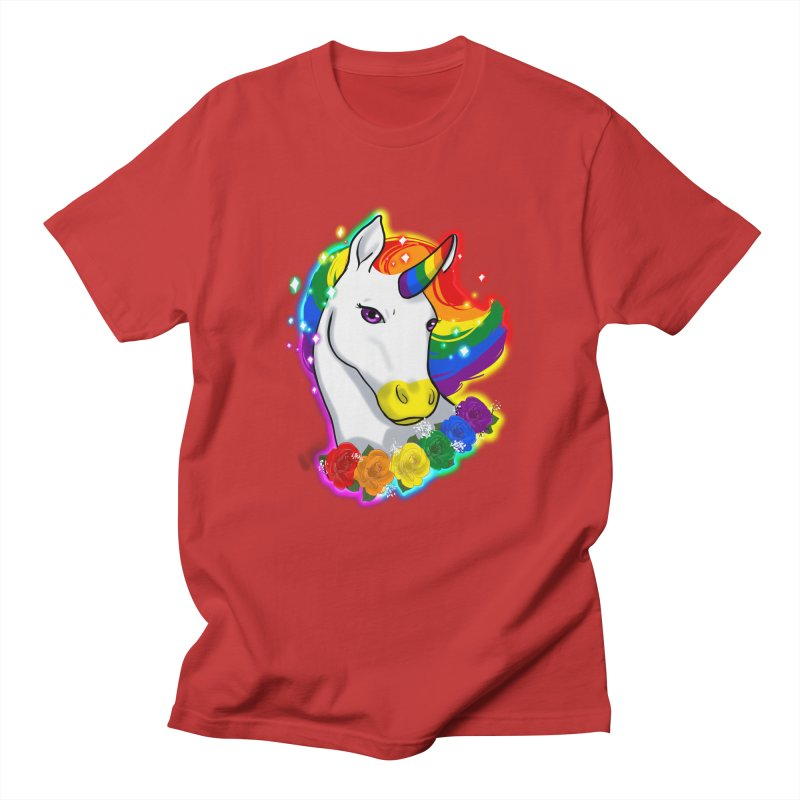 Rainbow gay pride unicorn Men's Regular T-Shirt by AnimeGravy