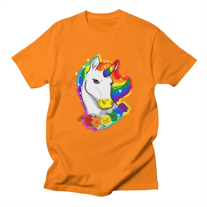 Rainbow gay pride unicorn Men's Regular T-Shirt by Animegravy's Artist Shop