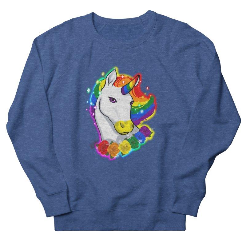 Rainbow gay pride unicorn Women's French Terry Sweatshirt by AnimeGravy